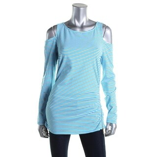 MICHAEL Michael Kors Womens Striped Cold Shoulder Pullover Top