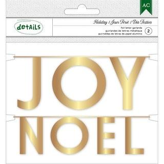 Holiday Details Foil Mini Word Garlands-Gold Joy & Noel