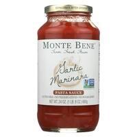 Monte Bene Pasta Sauce - Garlic Marinara - Case of 6 - 24 Fl oz.