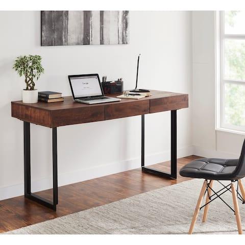 Glide Modern 3-drawer Wood and Metal Office Desk
