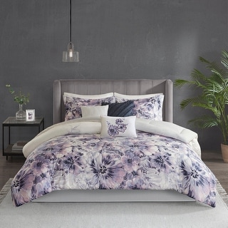 Link to Madison Park Adella Purple 7 Piece Cotton Printed Comforter Set Similar Items in Duvet Covers & Sets