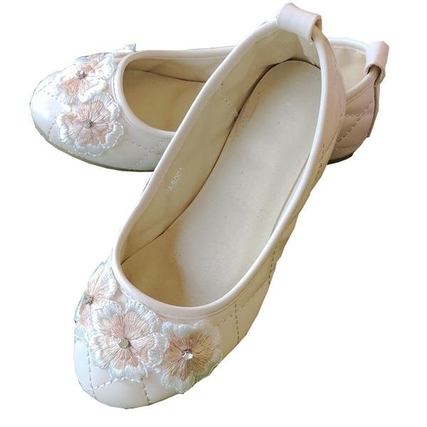 08dfe3bedc Little Girls Champagne 3D Flowers Dress Shoes 6-10T