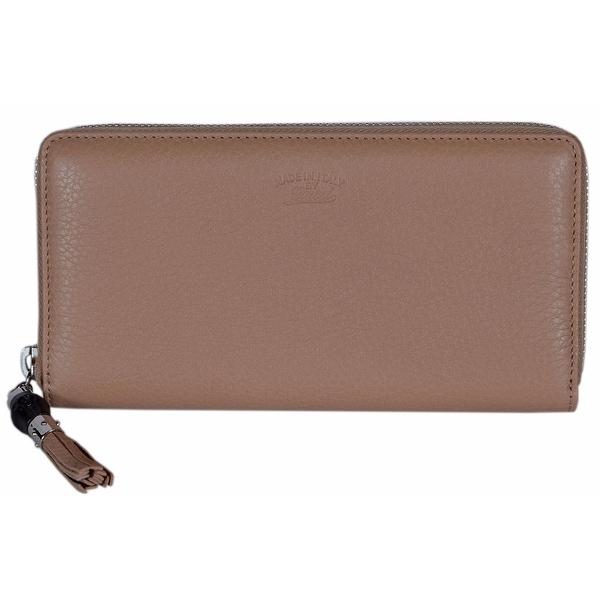"""Gucci Women's 307984 Beige Leather Trademark Logo Zip Around Wallet - 7.75"""" x 4"""" x 1"""