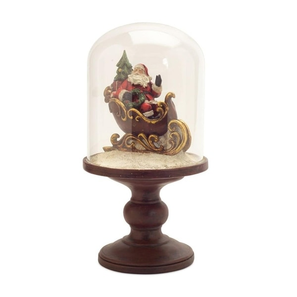 "Pack of 2 Santa Claus in Sleigh Under Glass Dome Figures 12"" - RED"