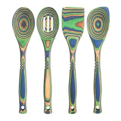 "Island Bamboo 12"" Peacock Pakkawood Spoon & Spatula 4pc Utensil Set"