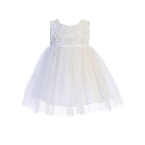 Kids Dream Baby Girls White Lace Illusion Tulle Flower Girl Dress 6-24M