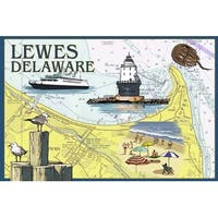Lewes, DE - Nautical Chart #2 -  LP Artwork (Art Print - Multiple Sizes)