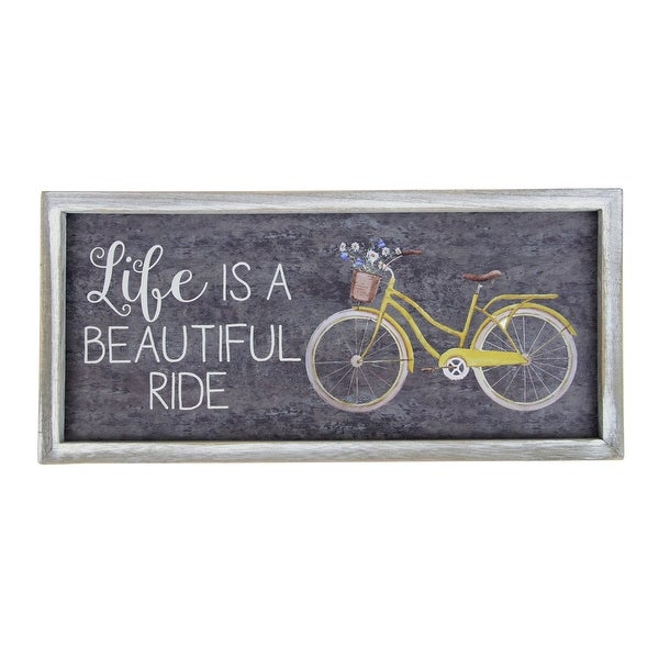 """15.5"""" Vintage Yellow And White Bicycle With Flowers """"Life Is A Beautiful Ride"""" Wall Decoration - N/A"""