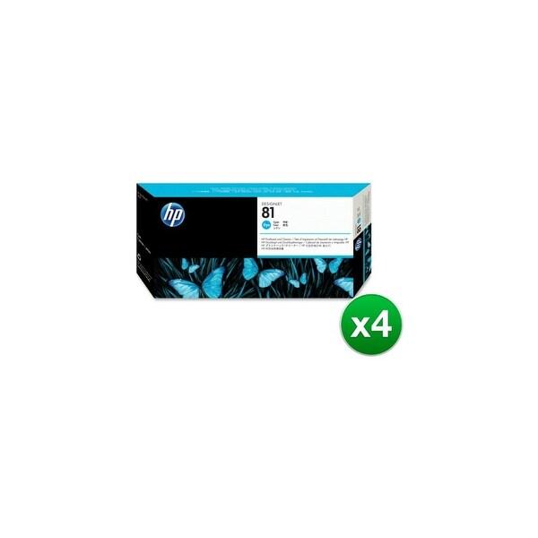 HP 81 Cyan DesignJet Dye Printhead & Printhead Cleaner (C4951A) (4-Pack)