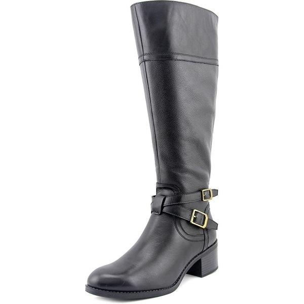 Franco Sarto Lapis Wide Calf Women  Round Toe Leather Black Knee High Boot