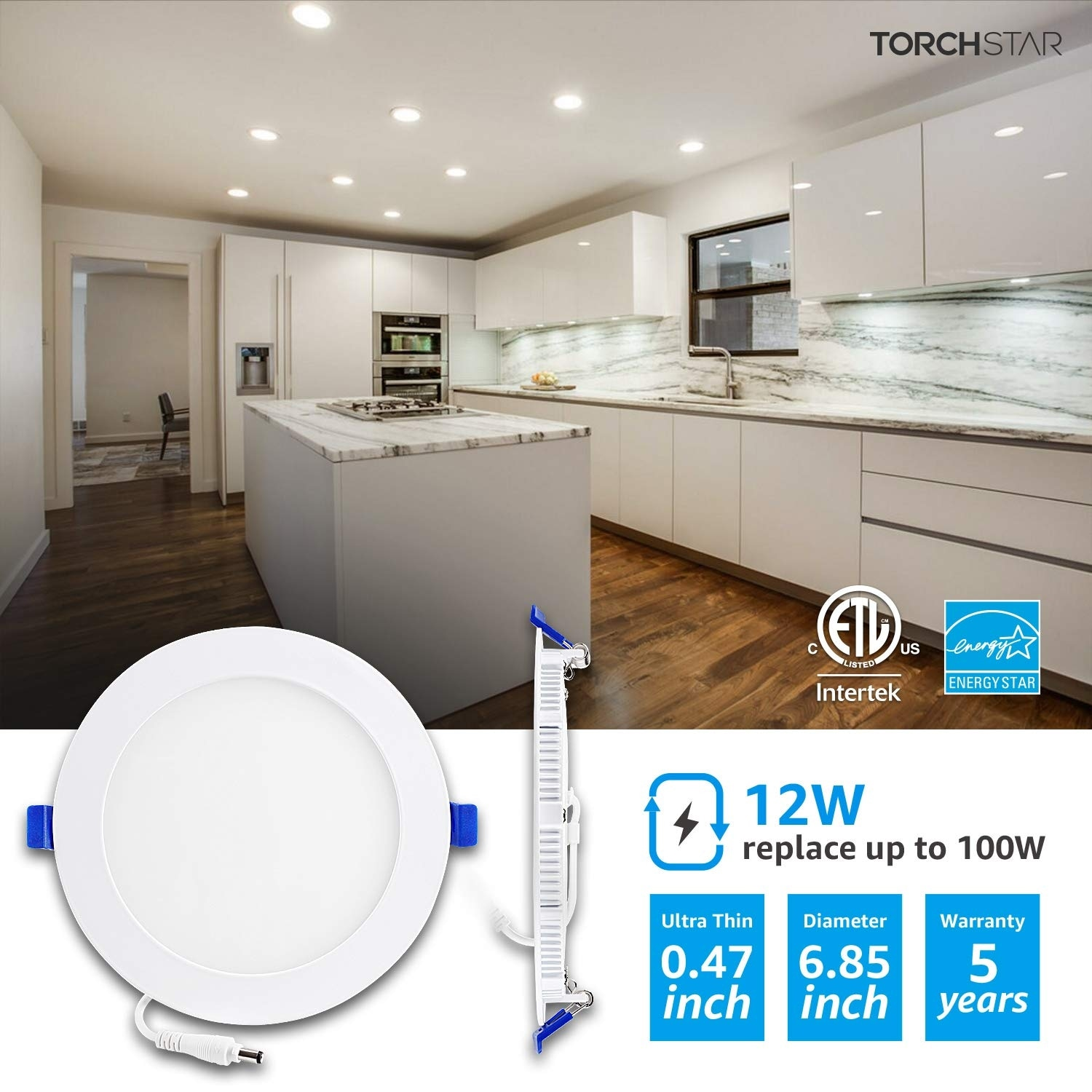 """Dimmable Can TORCHSTAR 12W 4"""" Slim Recessed Ceiling Light with Junction Box"""