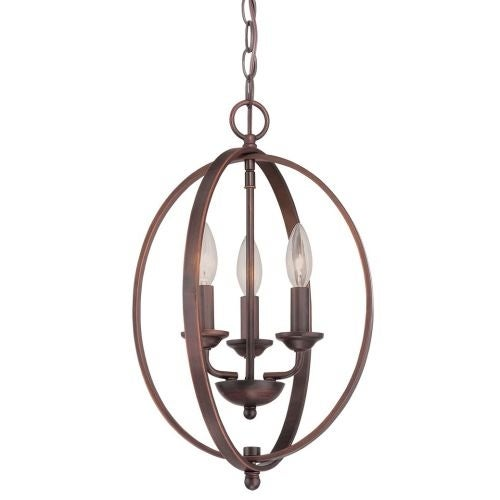 """Millennium Lighting 3033 3 Light 12"""" Wide Foyer Pendant with Cage Frame"""