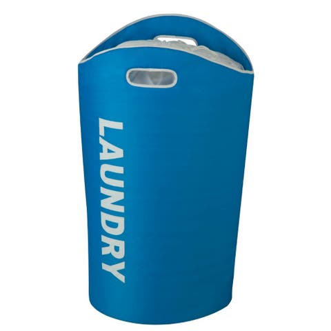 Honey-Can-Do HMP-03544 Laundry Bin Tote w/ Drawstring & Handles, Large, Blue