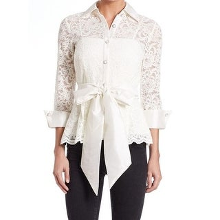 2eac67678b1 Shop Eliza J NEW White Women's Size 6 Lace Tie Front Button Down Shirt -  Free Shipping Today - Overstock.com - 20339903