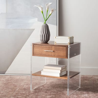 SAFAVIEH Couture Kylo 1-drawer Acrylic and Wood Nightstand