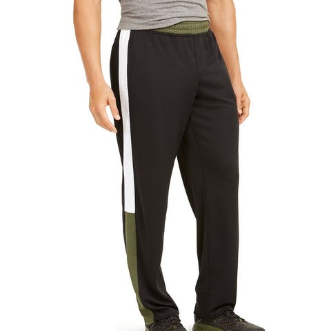 Ideology Mens Track Pants Black Green Large L Colorblocked Side Stripe