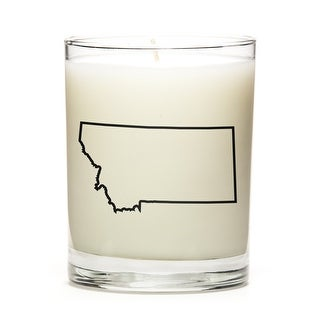 Custom Candles with the Map Outline Montana, Peach Belini