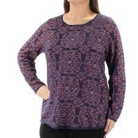 Womens Navy Geometric Long Sleeve Jewel Neck Sweater  Size  XL
