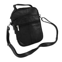 Black Leather Cross-Body Travel Bag