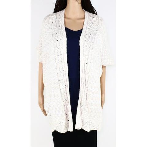 Style & Co Womens Sweater Beige Size XS Short Sleeve Knit Cardigan