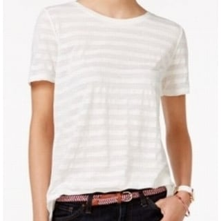 Tommy Hilfiger NEW White Striped Large L Chiffon-Back Sheer Knit Top