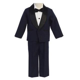 Lito Little Boys Navy Black Jacket Pants Shirt Bowtie 4 Pc Tuxedo