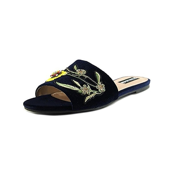 Design Lab Womens Fleur Slide Sandals Embroidered Embellished