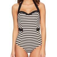Jets by Jessika Allen Black Women's 8 One-Piece Striped Swimwear