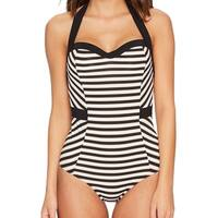 Jets by Jessika Allen Black Womens Size 10 One-Piece Swimwear