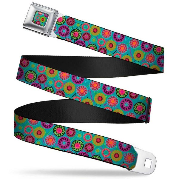 Rz Floral6 Full Color Turquoise Multi Color Rz Floral6 Turquoise Multi Seatbelt Belt