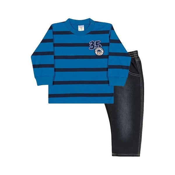 Baby Boy Outfit Long Sleeve Shirt and Jeans Set Pulla Bulla Sizes 3-12 Months