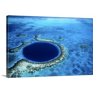 """The 'Blue Hole', a popular diving spot along Lighthouse Reef"" Canvas Wall Art"