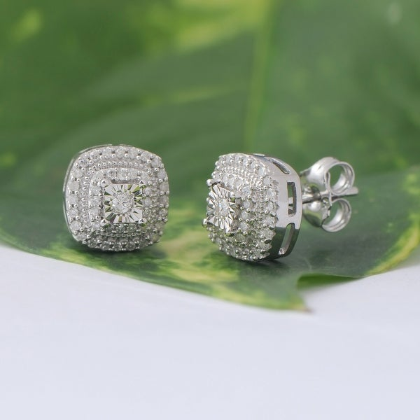 DeCouer 1/4ct Diamond Halo Stud Earrings Sterling Silver Certified. Opens flyout.