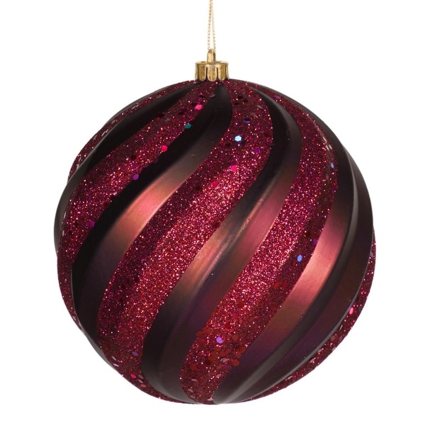 "Red Plum Glitter Swirl Shatterproof Christmas Ball Ornament 6"" (150mm)"