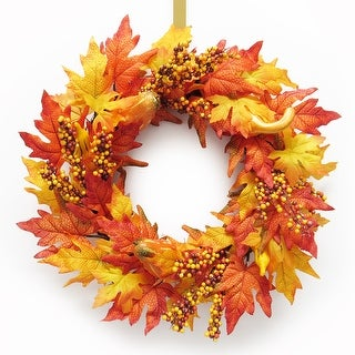 Link to Maple Pumpkin Berry Harvest Autumn Wreath 22in Similar Items in Decorative Accessories