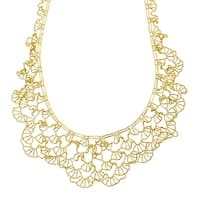 Eternity Gold Beaded Flower Necklace with Scalloped Edges in 14K Gold