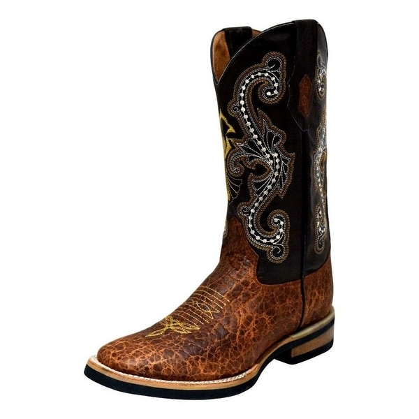Ferrini Western Boots Mens Square Acero Pull Tabs Block Cigar 12093-61