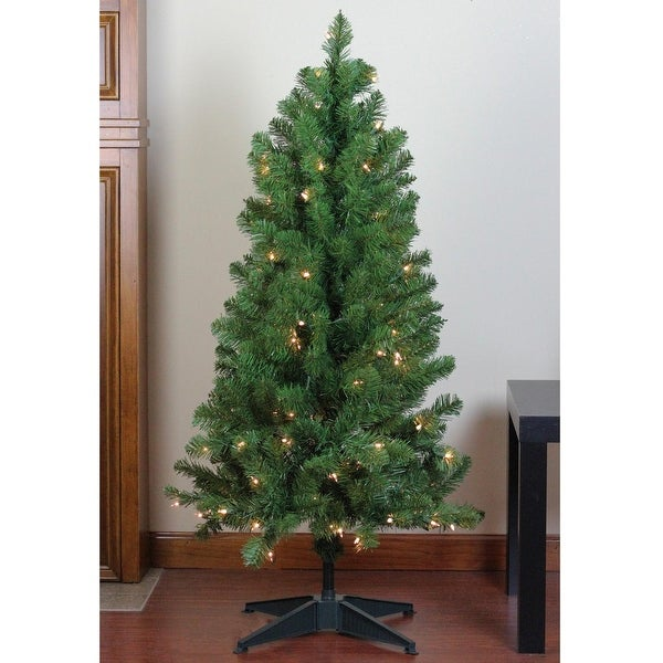 """4' x 25"""" Pre-Lit Noble Pine Artificial Christmas Tree- Clear Lights - green"""