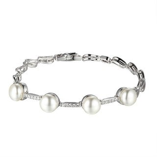 Womens Pearl Link Bracelet Lab Diamonds Silver Tone Ladies Unique Style