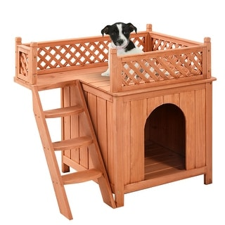 costway wooden puppy pet dog house wood room inoutdoor raised roof balcony bed shelter