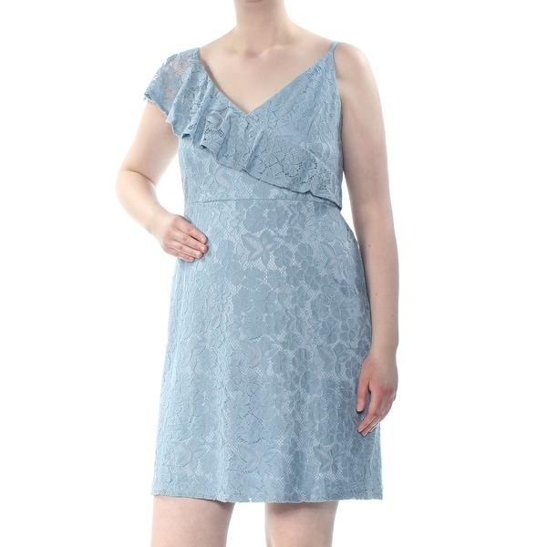 Soprano Womens Light Blue Lace Zippered Floral Spaghetti Strap V Neck Above The Knee Sheath Dress Plus Size 2x