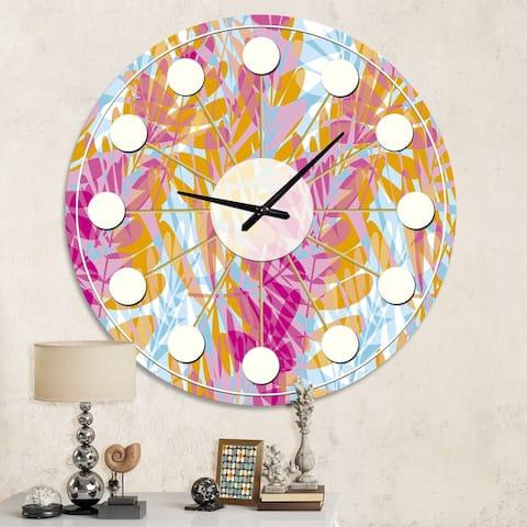 Designart 'Retro Floral Pattern III' Mid-Century wall clock