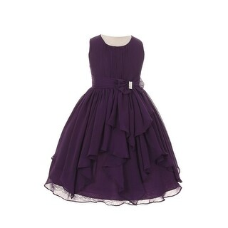 Girls Purple Chiffon Bow Sash Flower Girl Easter Dress 8-14