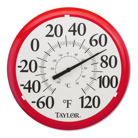 """Taylor 6700RD Dial Thermometer, Red/White, 13.25"""""""