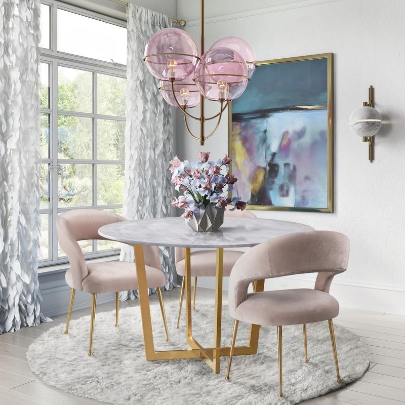 Rocco Blush Velvet Dining Chair Overstock 23138272