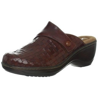 SoftWalk Womens Memphis Leather Round Toe Clogs