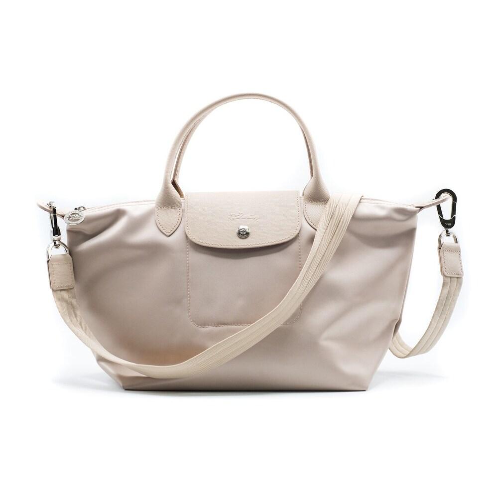 c44ee4145c042 Shop Longchamp Women s Beige Le Pliage Néo Top Handle Small Tote Bag ...