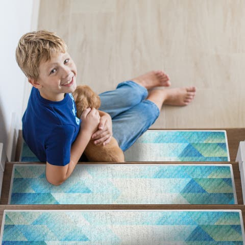 """SussexHome Sea Design 9"""" X 28"""" Stair Treads - 70% Cotton Anti-Slip Carpet Strips for Indoor Stairs-with Double Adhesive Tape"""