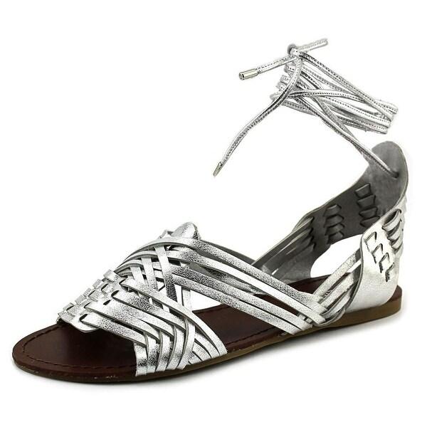 J/Slides Hipsterr Women Open Toe Leather Silver Gladiator Sandal