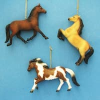 """Club Pack of 12 Wild West Country Brown Tan White Horse Christmas Ornaments 4"""""""
